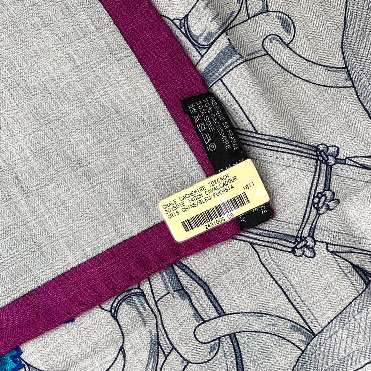 Hermes Cavalcadour Cashmere Silk Shawl Designer Consignment From Runway With Love