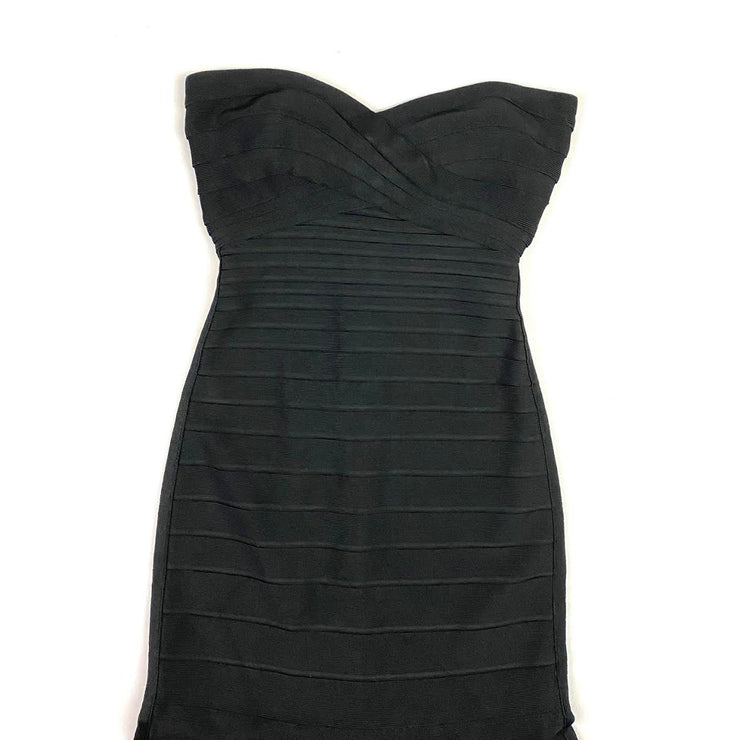 Herve Leger Strapless 'Sara' Long Dress Black Consignment Shop From Runway With Love