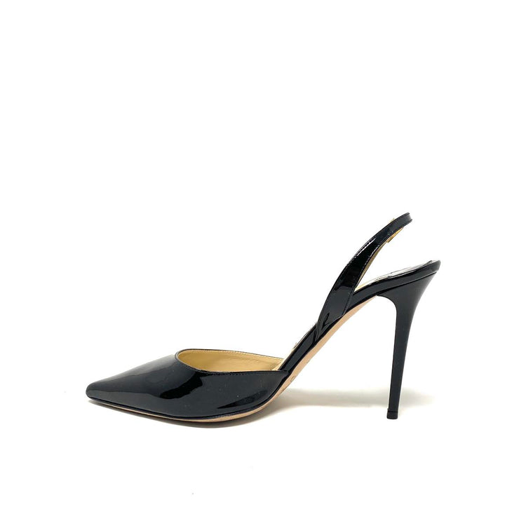 Jimmy Choo Patent Leather Slingback Pumps Black Consignment Shop From Runway With Love