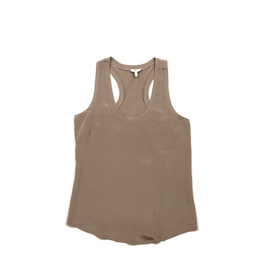 Taupe Joie silk sleeveless top Consignment Shop From Runway With Love