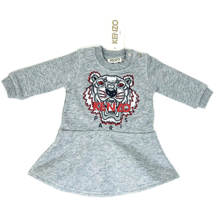 Kenzo Baby Girl Tiger Print embroidered Dress grey pink white