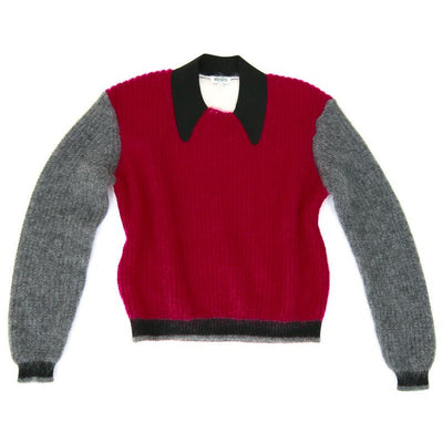 Kenzo color-block mohair sweater pink gray white black