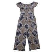 L'Agence Silk Off-The-Shoulder Jumpsuit Blue Pattern Consignment Shop From Runway With Love