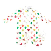 Little Marc Jacobs long sleeve onesie snap buttons down cats cactus green pink yellow