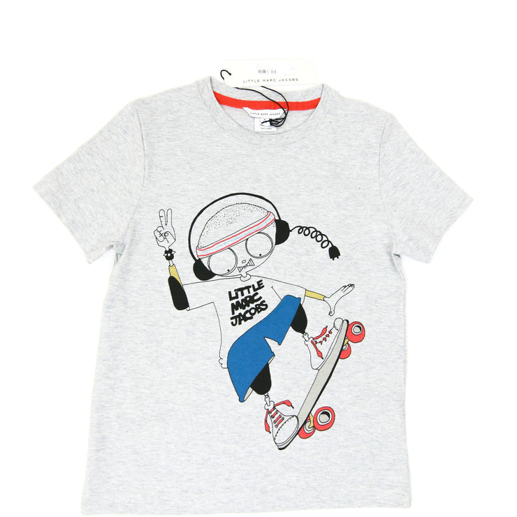 Little Marc Boy on Skateboard Print T-shirt gray