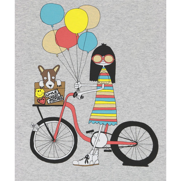 Little Marc Jacobs Girl on Bicycle Print tshirt gray