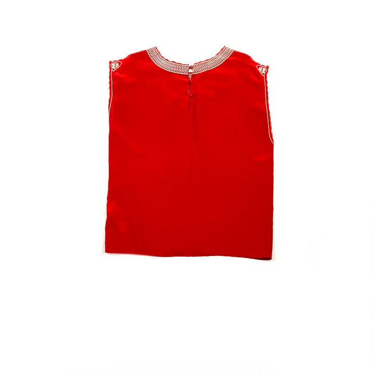 Red Maje sleeveless silk top contrasting lace floral consignment shop from runway with love