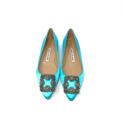 Manolo Blahnik Hangisi Satin Flats Aqua Blue Crystal Consignment Shop From Runway With Love