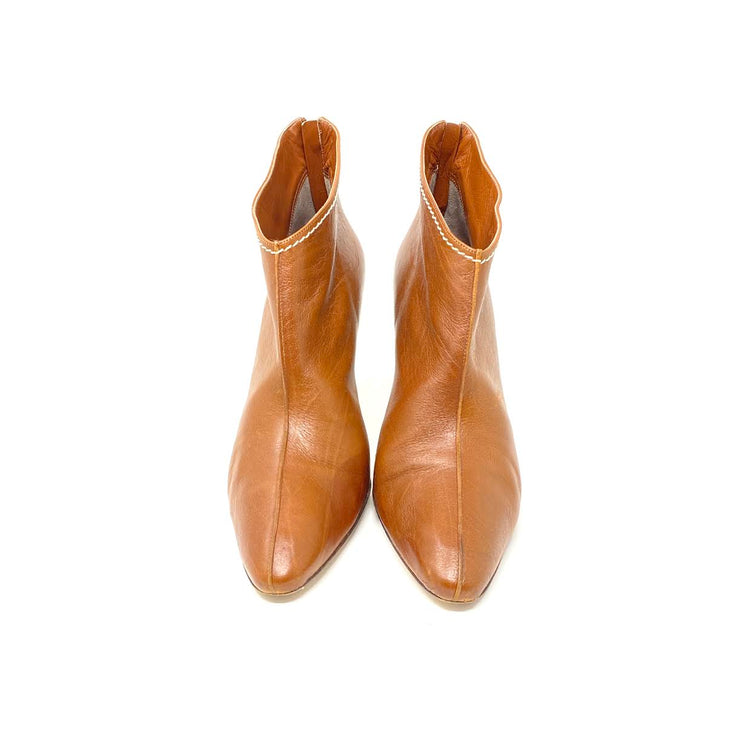 Manolo Blahnik Leather Ankle Boots Brown Consignment Shop From Runway With Love