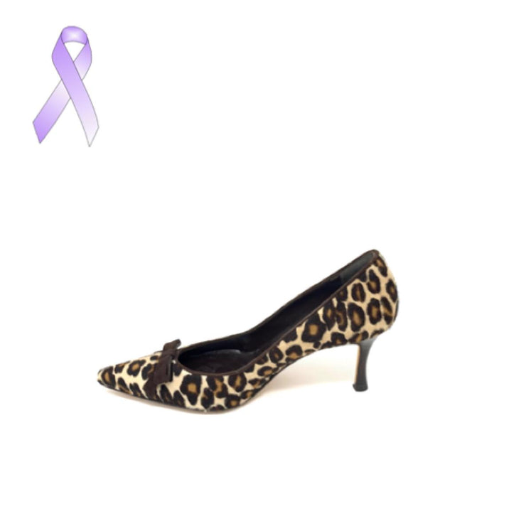 Manolo Blahnik leopard print heels pony hair designer consignment From Runway With Love Cancer research Charity donation