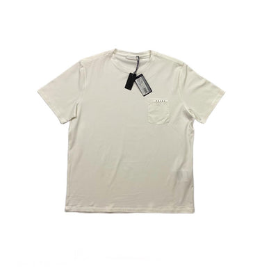 men's white Prada T-Shirt logo pocket consignment shop from runway with love