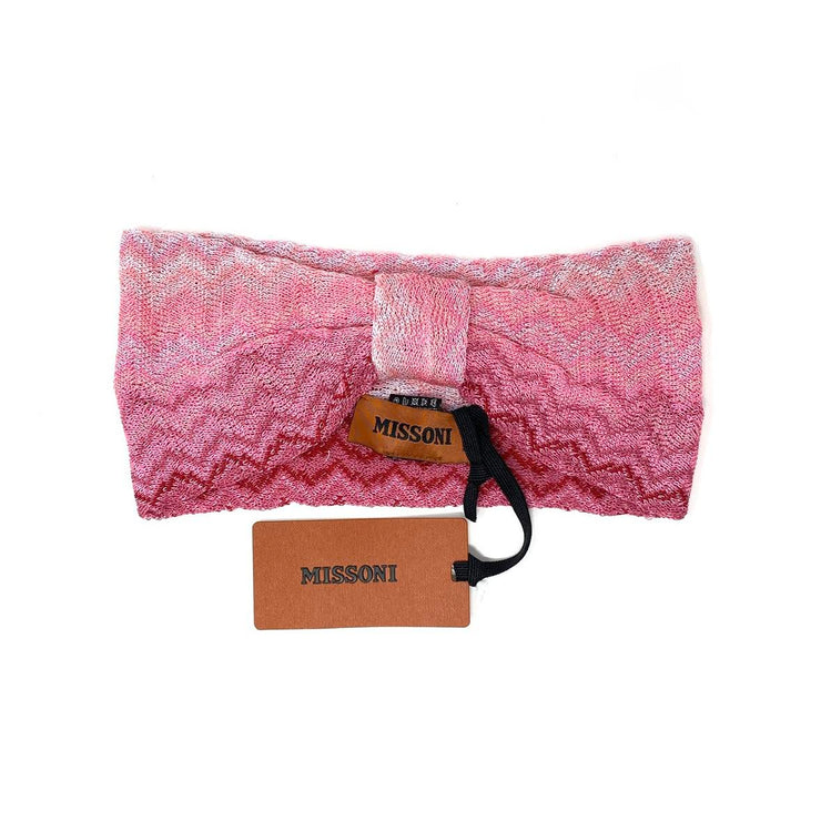 Missoni Chevron Zig Zag Patterned Knit Headband Pink Consignment Shop From Runway With Love