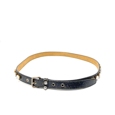 Miu MIu Leather Crystal Jewel-Embellished Belt Black Consignment Shop From Runway With Love