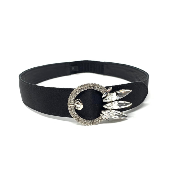 Miu Miu Crystal Buckle Headband Black Satin Hairband Prada Gucci From Runway With Love