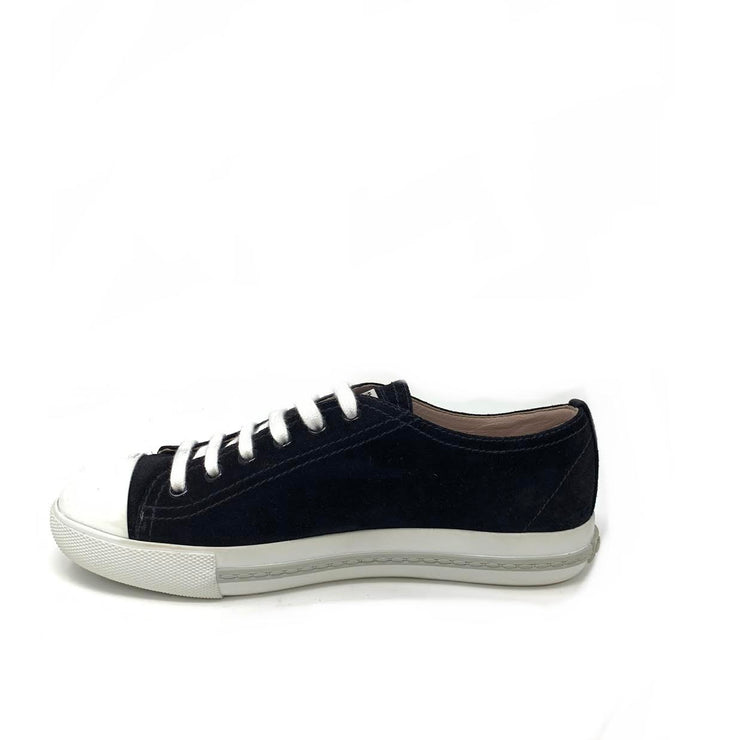 Miu Miu Black Suede Low-Top Sneakers Designer Consignment From Runway With Love
