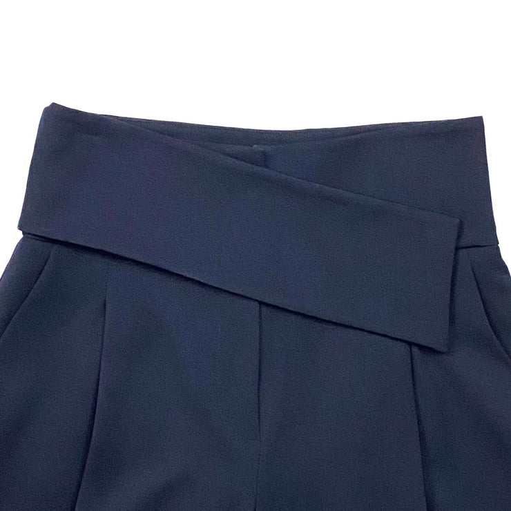 Navy blue Emporio Armani wool high-rise wide-leg pants Consignemtn Shop From Runway With Love