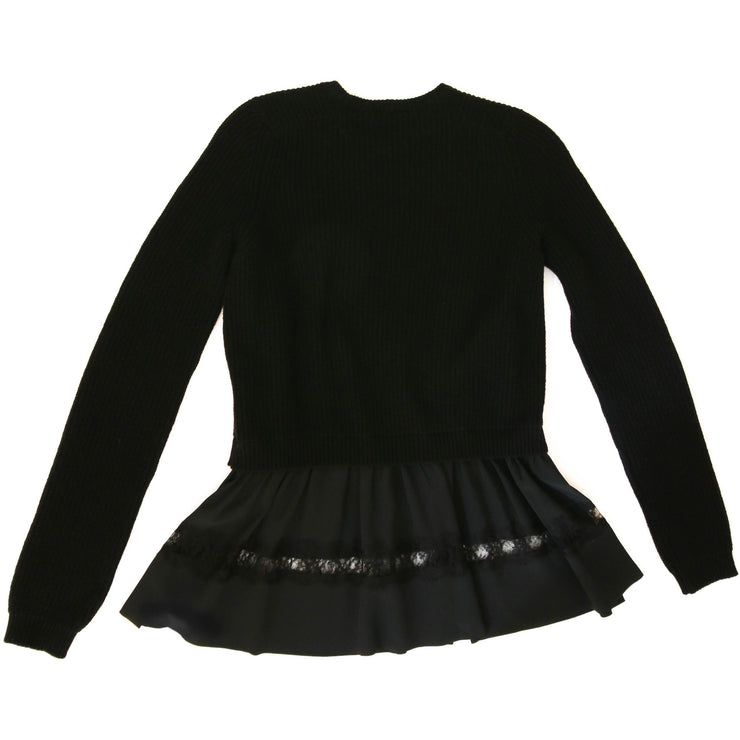 Black No. 21 sweater ruffle trim lace detail