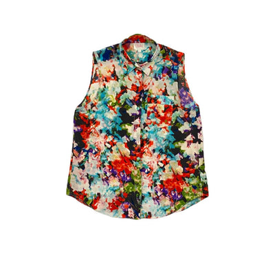 Multicolored Parker silk sleeveless top button up floral