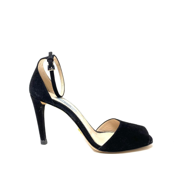 Prada Suede Ankle Strap Sandals Black Consignment Shop From Runway With Love