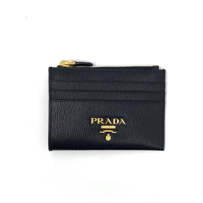 Prada Black Vitello Move Card Holder Leather Consignment Shop From Runway With Love