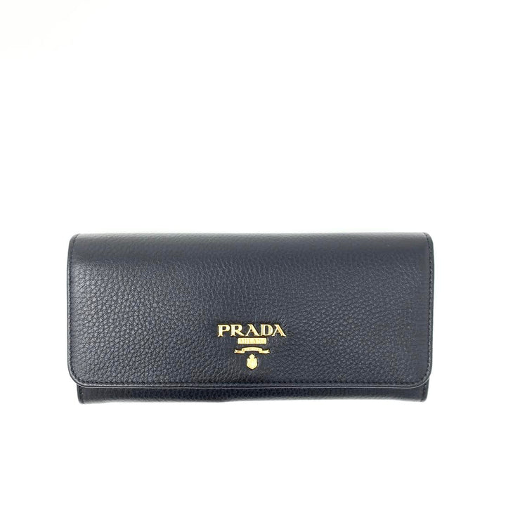 Prada Continental Flap Wallet Black Leather Gold Consignment Shop From Runway With Love