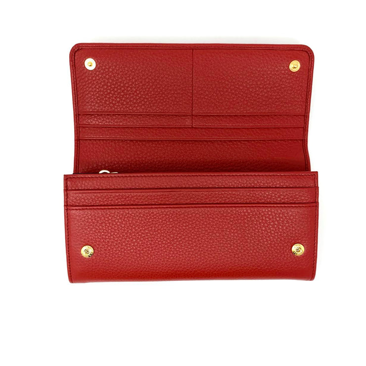 Prada Continental Flap Wallet Red Leather Gold Consignment Shop From Runway With Love