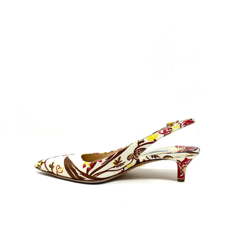 Prada Floral Slingback Pumps Saffiano Leather White Consignment Shop from Runway With Love