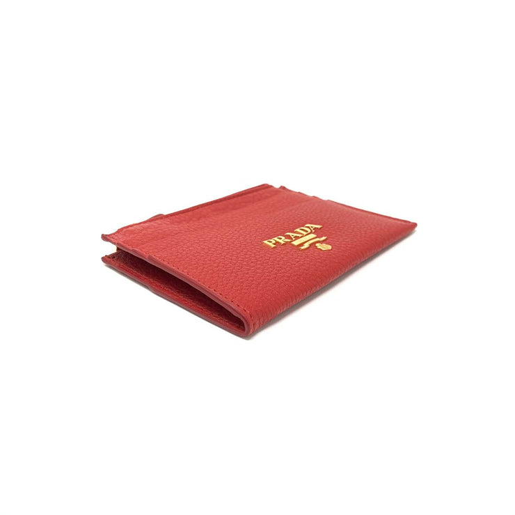 Prada Red Leather Card Holder Gold Zipper Consignment Shop From Runway With Love