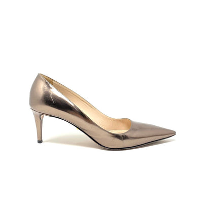 Prada Metallic Pointed-Toe Pumps Gold Heels Consignment Shop From Runway With Love