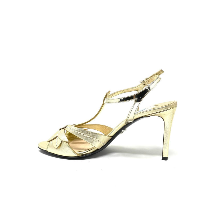 Prada Multiple Strap Sandals Gold Leather Consignment Shop From Runway With Love