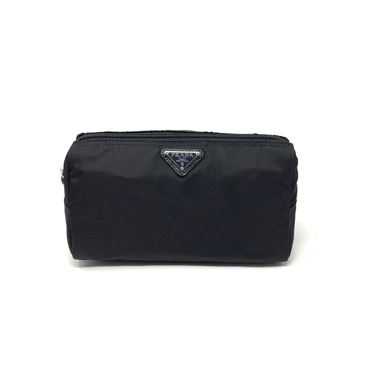 Prada Nylon Cosmetic Case Black Saffiano Consignment Shop From Runway With Love