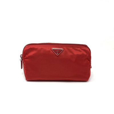 Prada Nylon Cosmetic Case Red Saffiano Consignment Shop From Runway With Love