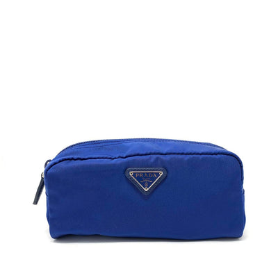 Prada Nylon Cosmetic Case in Blue Saffiano leather consignment shop from runway with love
