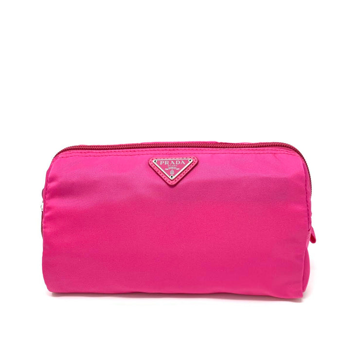 Prada Nylon Cosmetic Case Pink Saffiano Leather Consignment Shop From Runway With Love