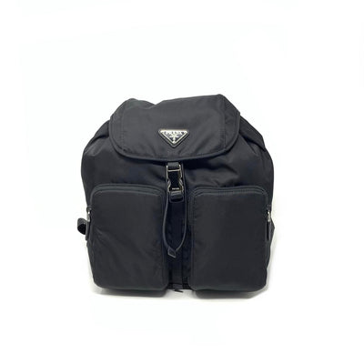 Prada Nylon Zaino Backpack Saffiano Trimmed Black Consignment Shop From Runway With Love