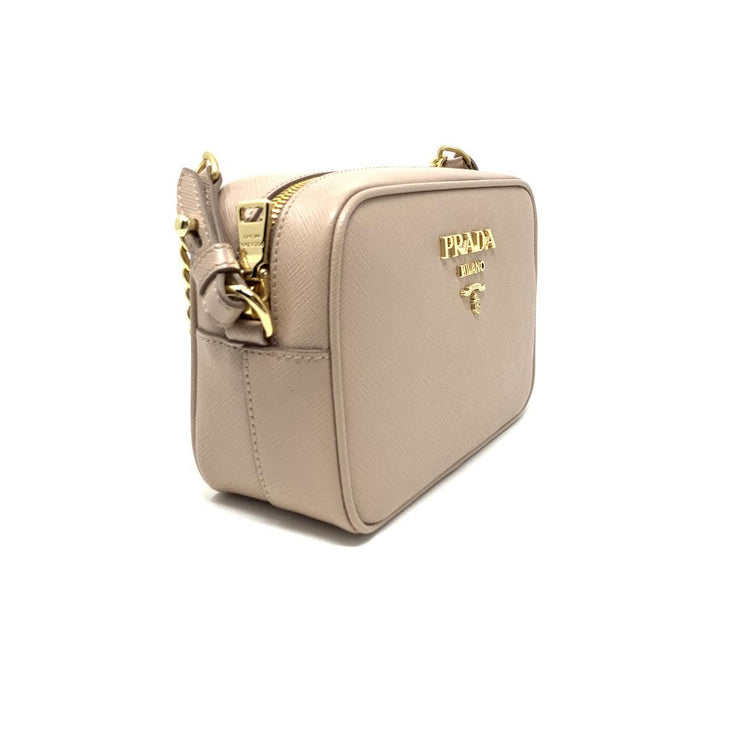 Prada Saffiano Camera Crossbody Beige Nude Gold Leather Consignment Shop From Runway With Love