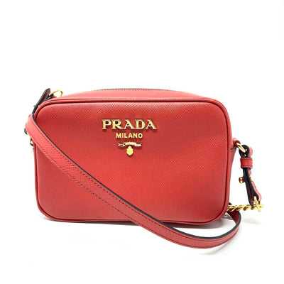 Prada Saffiano Camera Crossbody Leather Red Gold Consignment Shop From Runway With Love
