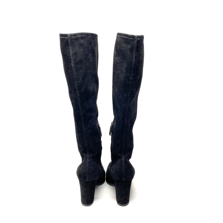 Prada Suede Knee-High Boots Black Consignment Shop From Runway With Love