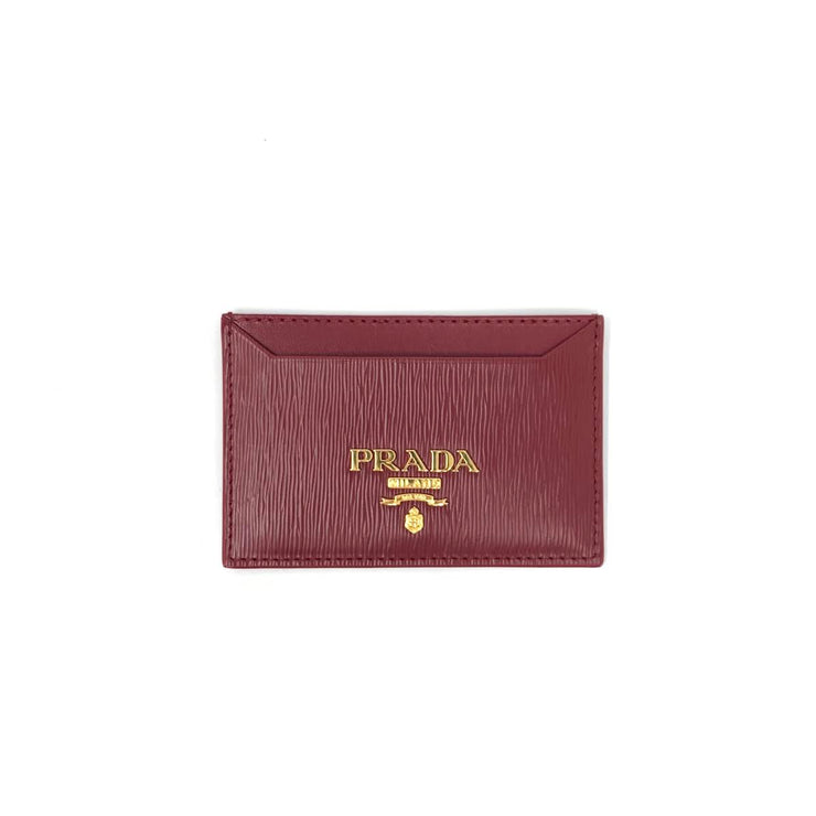 Prada Vitello Move Card Holder Red Leather Consignment Shop From Runway With Love