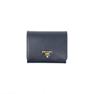 Prada Vitello Move Compact Wallet Black Gold Consignment Shop From Runway with love