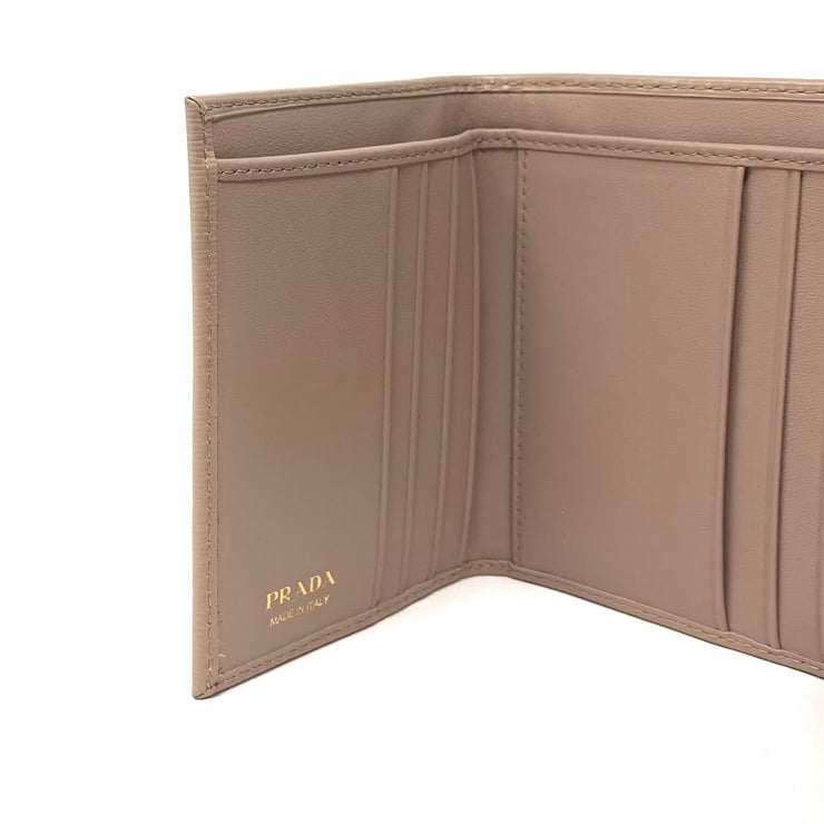 Prada Vitello Move Compact Wallet Beige Cipria Gold Consignment Shop From Runway With Love