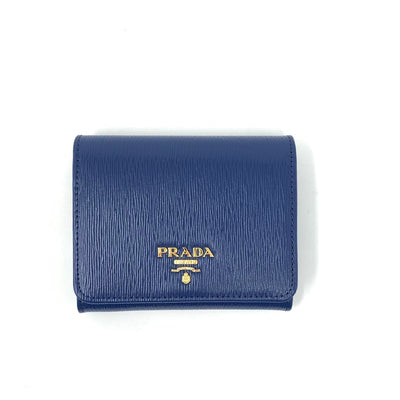 Prada Vitello Move Compact Wallet Blue Consignment Shop From Runway With Love