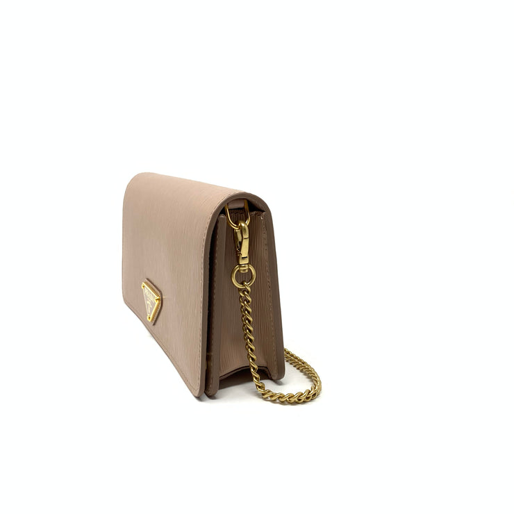 Prada Vitello Move Wallet on Chain Beige Bag Consignment Shop Form Runway With Love