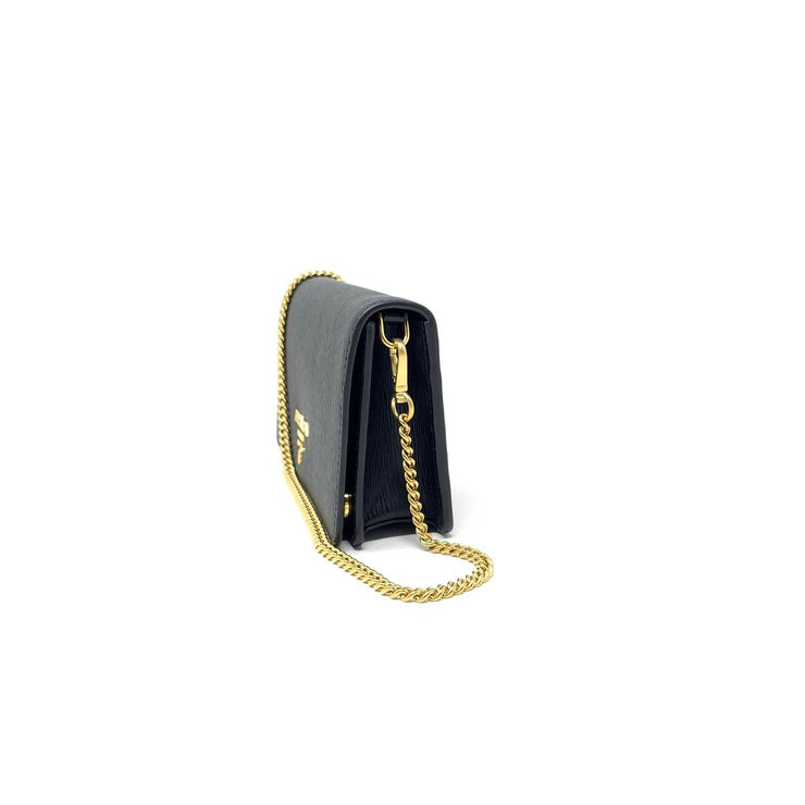 Prada Vitello Move Wallet on Chain Black Bag Consignment Shop Form Runway With Love