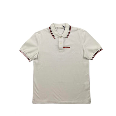 Prada Short Sleeve Polo Shirt Logo White Consignment Shop From Runway With Love