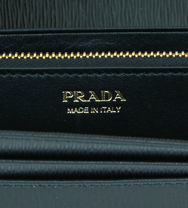 Prada Continental Flap Wallet black leather