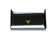 Prada Continental Flap Wallet black leather Designer Consignment From Runway With Love