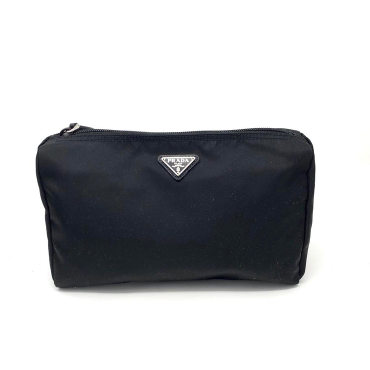 Prada Nylon Cosmetic Case In Black designer consignment From Runway With Love