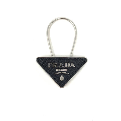 Prada Saffiano Keychain Black Silver luxury consignment shop from runway with love