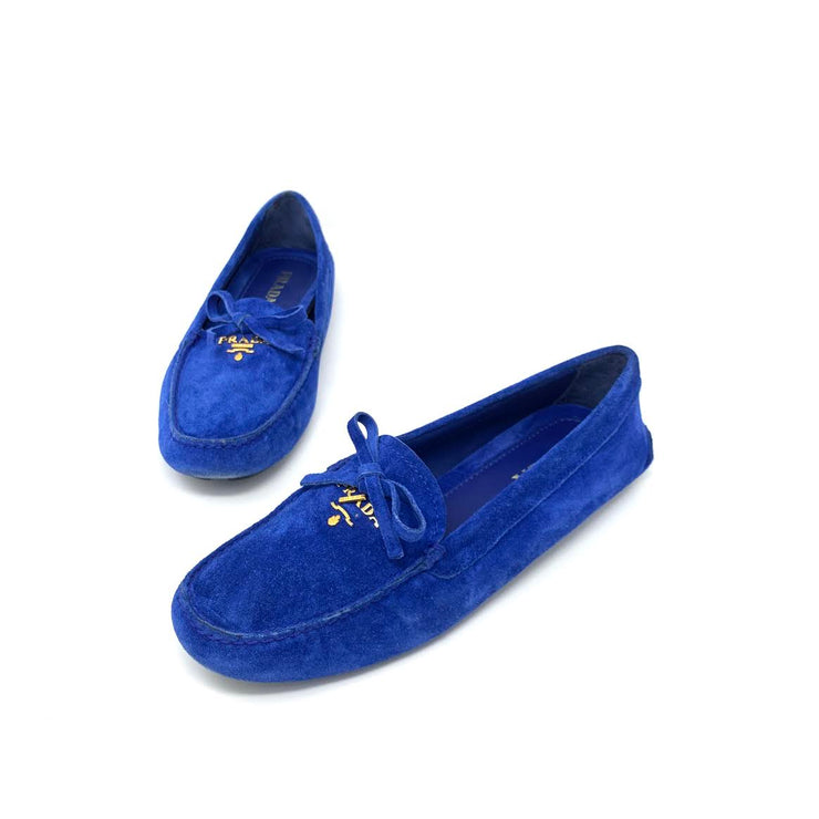 Prada blue Suede Driving Loafers bowtie